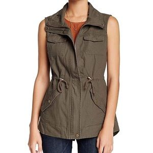SEBBY olive military vest with zippers